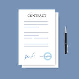Signed paper deal contract icon. Agreement and pen isolated on the blue background. Signed paper deal contract icon. Agreement and pen isolated on the blue stock illustration