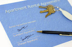 Signed rental agreement Royalty Free Stock Images