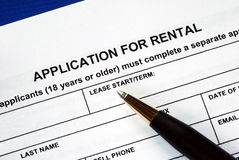 Signed the rental application Stock Photos