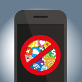 Signes象在手机不使用 免版税库存图片