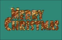Signes éclatants de Joyeux Noël en métal d'or Ornement floral d'oriental de vintage Fond est de vacances d'or de carte de voeux Image libre de droits