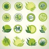 Signes avec les lames vertes qui affichent l'idée de l'écologie illustration de vecteur