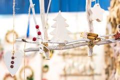 Signes blancs d'icônes de figurines de Noël Photographie stock