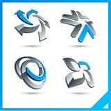 Signes bleus de la compagnie 3d. Images libres de droits