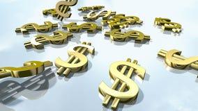 Signes brillants d'argent du dollar d'or rendu 3d banque de vidéos