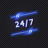 Signes 7, cadre au néon de vecteur 24 brillant de citation d'isolement sur le fond transparent foncé, lumière bleue abstraite illustration de vecteur