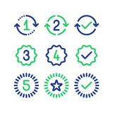 Signes d'années de garantie, période de service de garantie, marque approuvée, ligne icônes illustration de vecteur