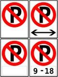 Signes d'aucune restriction de stationnement/stationnement Image stock