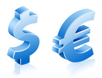 Signes d'euro du dollar Photos stock