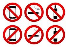 Signes d'interdiction : aucune cellule, aucune fumée, aucune boisson Image libre de droits