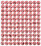 110 signes d'interdiction, illustration de vecteur Image stock