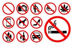 Signes d'interdiction réglés Illustration de vecteur Photos libres de droits