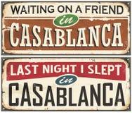 Signes de bidon de vintage de Casablanca illustration de vecteur