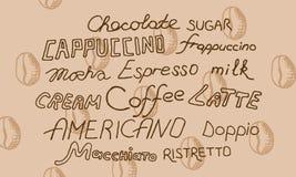 Signes de café avec des grains de café Image stock