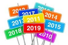 2019 signes de couleur de nouvelle année rendu 3d Image libre de droits