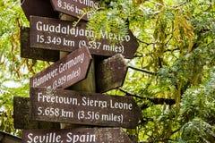 Signes de destination de voyage photo libre de droits