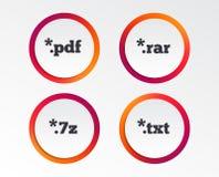 Signes de document Symboles d'extensions du fichier Images libres de droits