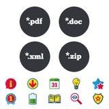 Signes de document Symboles d'extensions du fichier Image libre de droits