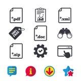 Signes de document Symboles d'extensions du fichier Photo stock