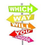 Signes de flèche - que la voie vous choisira ? Photographie stock libre de droits