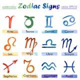 Signes de l'aquarelle de zodiaque Photo stock