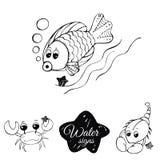 Signes de l'eau du zodiaque Image libre de droits