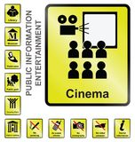 Signes de l'information de divertissement photo stock