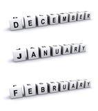 Signes de mois d'hiver Photo stock