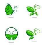 Signes de papillons et de feuilles Photos stock