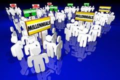 Signes de personnes de baby boomers de la génération X de Millennials Images libres de droits