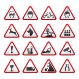Signes de risque d'avertissement triangulaires réglés Images libres de droits
