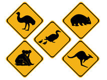 Signes de route australiens de faune Photo libre de droits