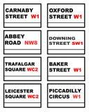signes de route célèbres de Londres Photos libres de droits