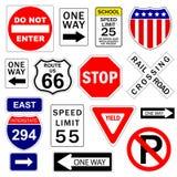 Signes de route et d'omnibus Photographie stock libre de droits