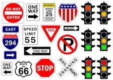 Signes de route et d'omnibus Image stock
