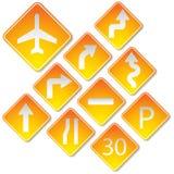 Signes de route jaunes Photographie stock libre de droits