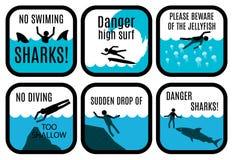 Signes de sécurité de plage Photographie stock libre de droits
