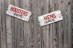 Signes de salle de bains de gallons et de types Photos libres de droits