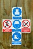 Signes de santé et sécurité de chantier de construction Photographie stock libre de droits
