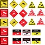 Signes de surveillance d'appareil-photo de télévision en circuit fermé Images stock