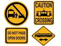 Signes de tramway d'attention Photographie stock libre de droits