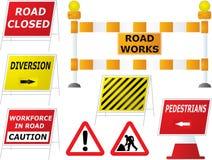 Signes de travaux de route Photographie stock libre de droits