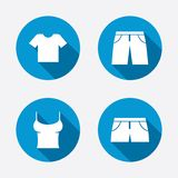 Signes de vêtements T-shirt et pantalon avec des shorts Image libre de droits