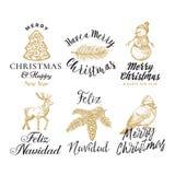 Signes de vecteur de Joyeux Noël et de bonne année, labels ou Logo Templates Set abstraits Cerfs communs tirés par la main, biscu illustration stock