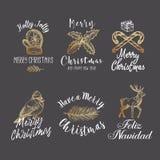 Signes de vecteur de Joyeux Noël et de bonne année, labels ou Logo Templates Set abstraits Cerfs communs tirés par la main, gant, illustration stock
