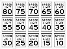 Signes de vitesse réglés Images libres de droits