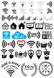 Signes de Wi-Fi, ensemble de vecteur Photo libre de droits