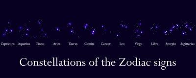 Signes de zodiaque Constellations des signes de zodiaque, horoscope Groupe d'étoile Vecteur Photo stock