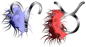 Signes de zodiaque de Bélier et de Taureau Images libres de droits