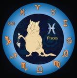 Signes de zodiaque. Poissons. Dessin animé Photo libre de droits